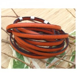 cuir plat 5mm orange en gros