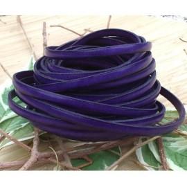 Cuir plat 5mm violet en gros