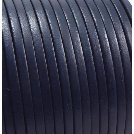 Cuir plat 3mm bleu marine en gros