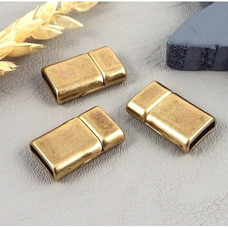 5 Fermoirs magnetiques extra plat bronze pour cuir 10mm