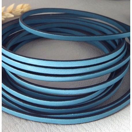 Cuir plat 3mm bleu ciel en gros