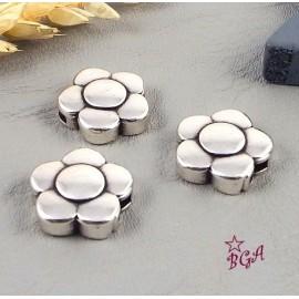 5 Fermoirs magnetiques fleur argent cuir 5mm