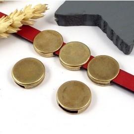 Passe cuir rond plat finition bronze pour cuir 10mm
