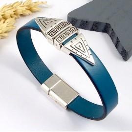 Kit tutoriel bracelet cuir turquoise geometrique