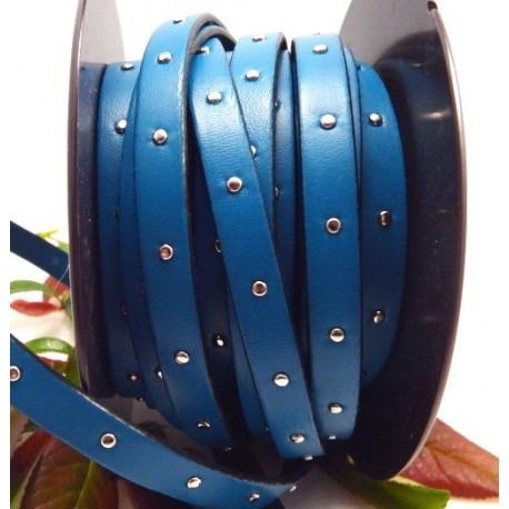 cuir plat turquoise 10mm clous
