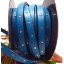 cuir plat turquoise 10mm clous argentes