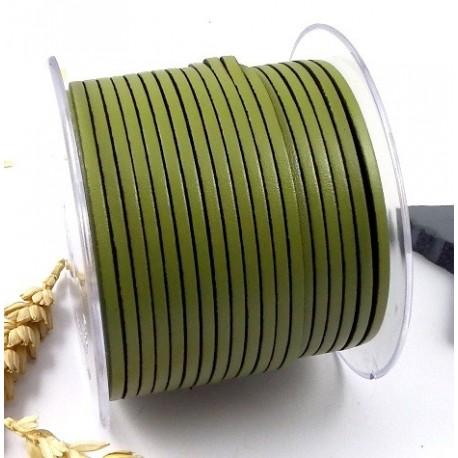 Cuir plat 3mm vert anis en gros