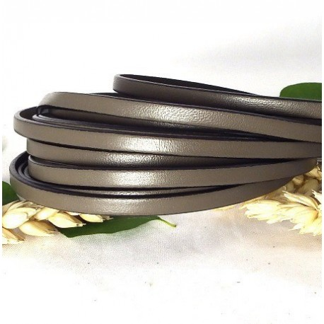 cuir plat 5mm taupe en gros