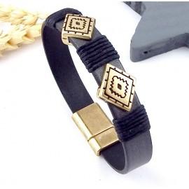 Kit bracelet cuir homme ethnique boho gris