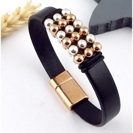 kit tuto bracelet cuir argent et or rose