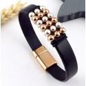 kit bracelet cuir argent et or rose avec son tutoriel