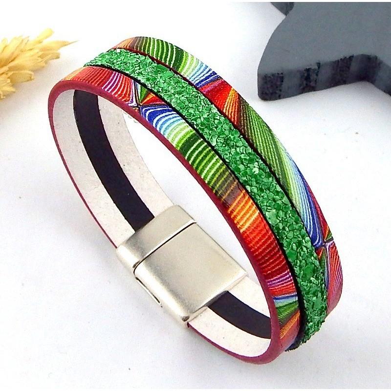 Kit bracelet cuir arc en ciel et argent - Bracelet arc en ciel ...
