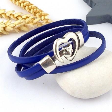 Kit tutoriel bracelet cuir bleu fermoir coeur