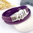 Kit tutoriel bracelet cuir prune fermoir coeur