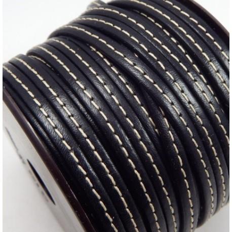 cuir plat 5mm couture noir en gros