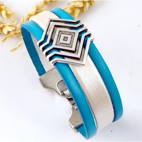 Kit tutoriel bracelet cuir boho turquoise et ivoire nacre