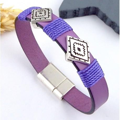 kit tutoriel bracelet cuir lilas et argent boho