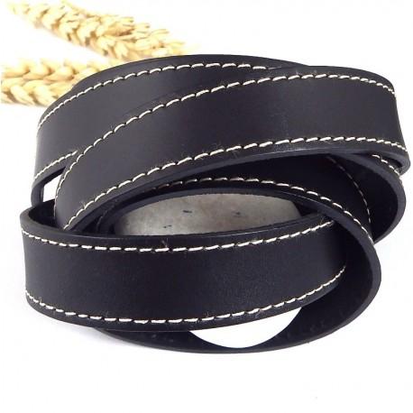 Cuir plat 20mm noir