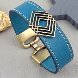 Cuir plat 20mm turquoise coutures