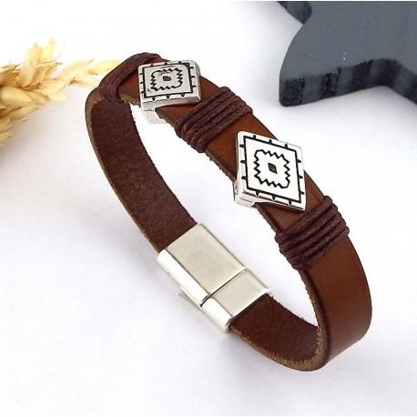 kit bracelet cuir marron et argent boho