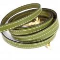Cuir plat 10mm couture vert pistache