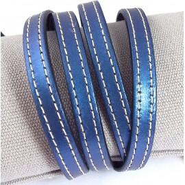 Cuir plat couture bleu metal par 20cm