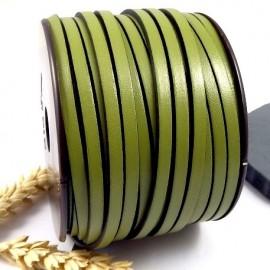 Cuir plat 5mm vert pistache