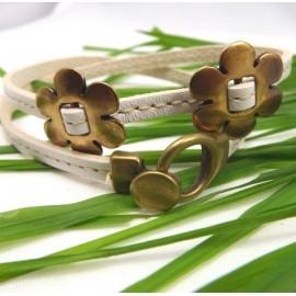 Fermoir boucle bronze avec bracelet blanc coutures 5mm