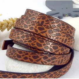 cuir plat imprime animal marron et camel