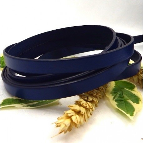 lanière cuir plat 10mm bleu marine