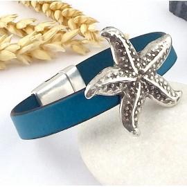 Kit tutoriel bracelet cuir turquoise et etoile de mer