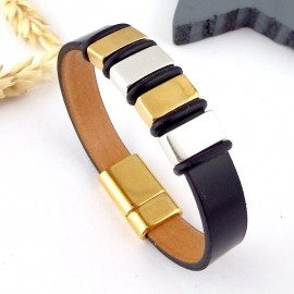 kit tutoriel bracelet cuir noir or et argent