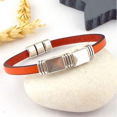 Bracelet cuir design orange et argent