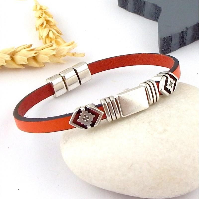 bracelet cuir unisexe boho orange et argent avec son tutoriel et toutes les fournitures. Black Bedroom Furniture Sets. Home Design Ideas