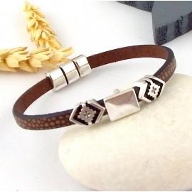 Kit tutoriel bracelet cuir unisexe marron zamak argent