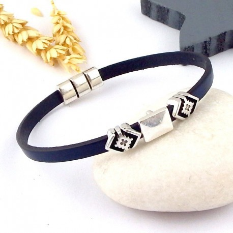 Bracelet cuir unisexe boho orange et argent
