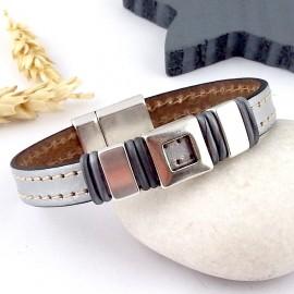 kit tuto bracelet cuir argent coutures et plaque argent