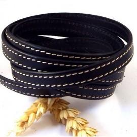 Cuir plat 10mm noir couture