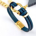 kit tutoriel bracelet cuir bleu turquoise manille or