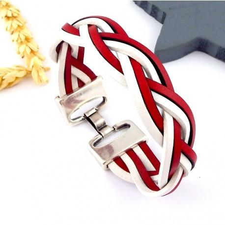 Kit tutoriel bracelet cuir tressé rouge et blanc