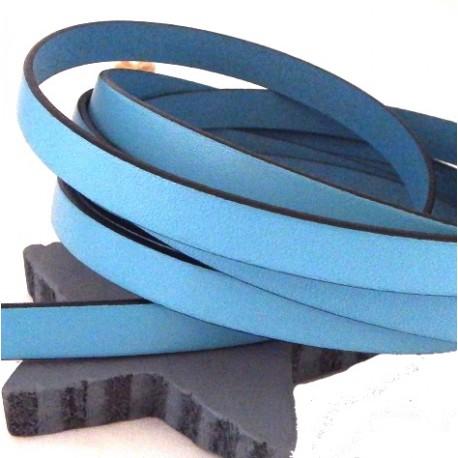 Cuir plat 10mm bleu ciel