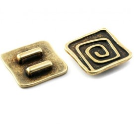 Grande perle passante carree bronze pour cuir 10mm