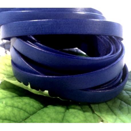 Cuir plat 10mm bleu vif