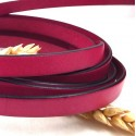 Cuir plat 10mm rose fuchsia