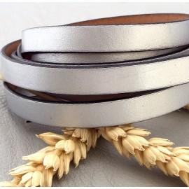 Cordon cuir plat argent 10mm