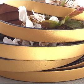 Cordon cuir plat dore10mm