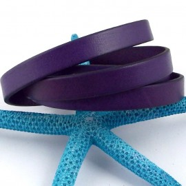 cordon cuir plat violet 10mm