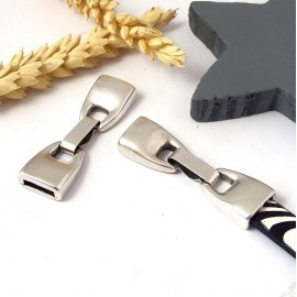 Fermoir clip zamak plaque argent pour cuir 10mm