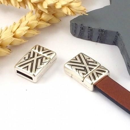 Fermoir magnetique geometrique plaque argent pour cuir 10mm