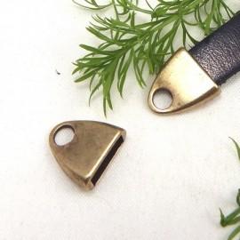 2 embouts fermoir dore vieilli pour cuir plat 10mm